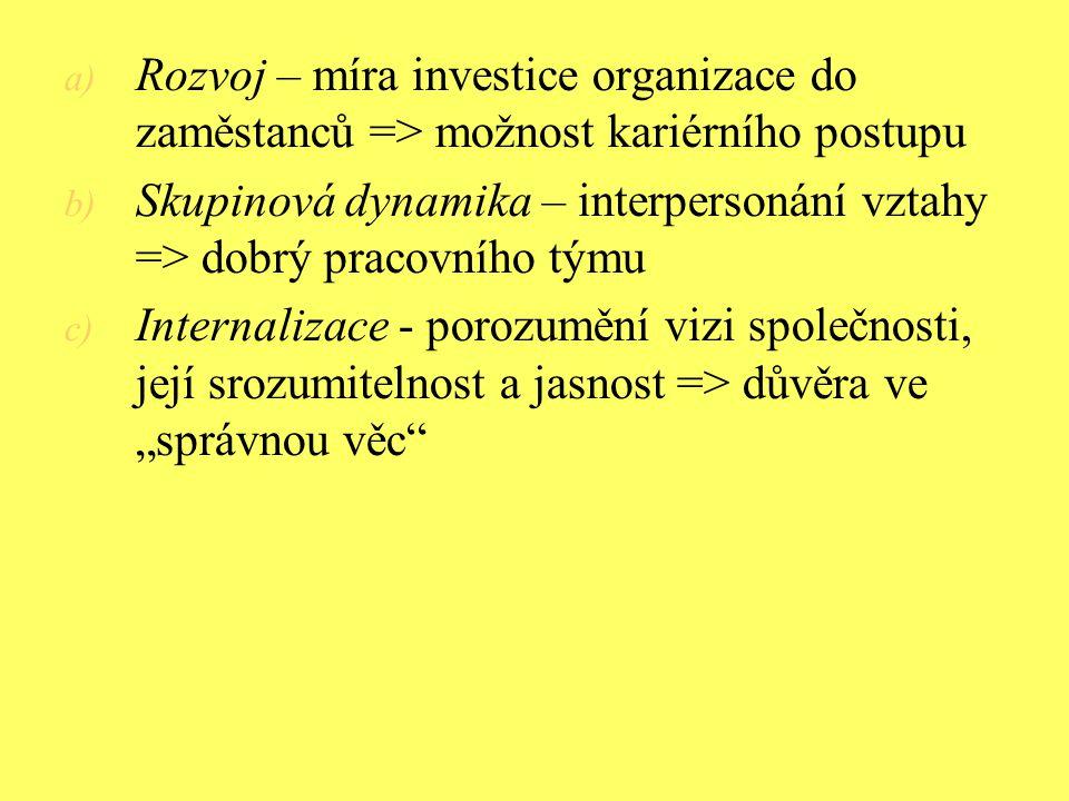 Rozvoj – míra investice organizace do zaměstanců => možnost kariérního postupu
