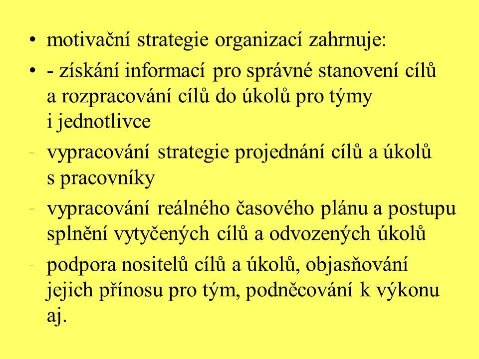 motivační strategie organizací zahrnuje:
