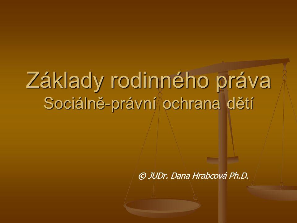 Základy rodinného práva Sociálně-právní ochrana dětí