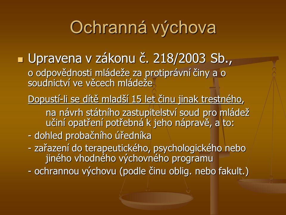 Ochranná výchova Upravena v zákonu č. 218/2003 Sb.,