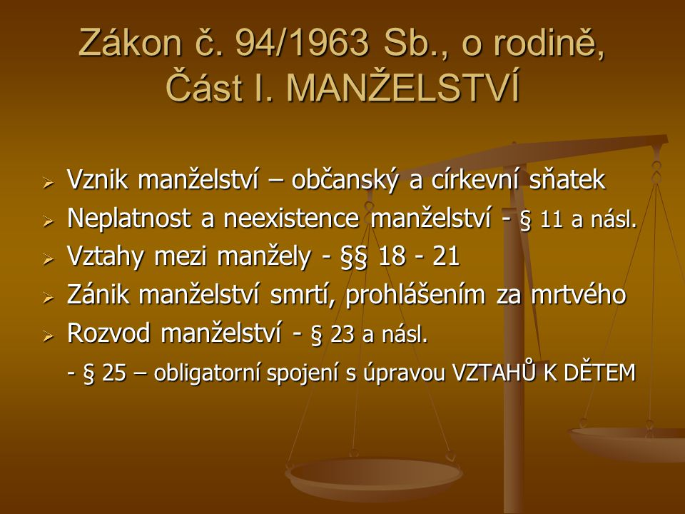 Zákon č. 94/1963 Sb., o rodině, Část I. MANŽELSTVÍ