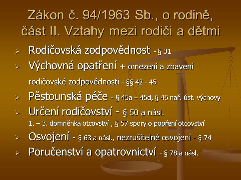 Zákon č. 94/1963 Sb., o rodině, část II. Vztahy mezi rodiči a dětmi
