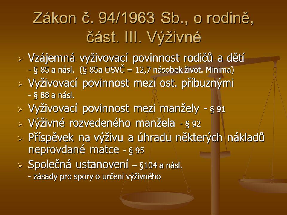 Zákon č. 94/1963 Sb., o rodině, část. III. Výživné