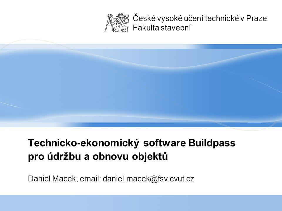 Technicko-ekonomický software Buildpass pro údržbu a obnovu objektů