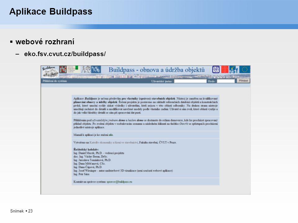 Aplikace Buildpass webové rozhraní eko.fsv.cvut.cz/buildpass/