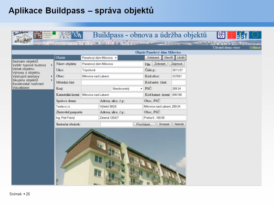 Aplikace Buildpass – správa objektů