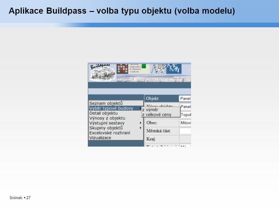 Aplikace Buildpass – volba typu objektu (volba modelu)