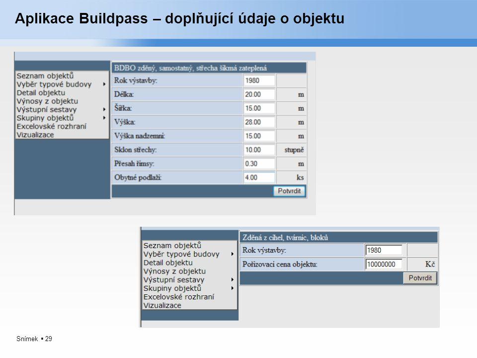 Aplikace Buildpass – doplňující údaje o objektu