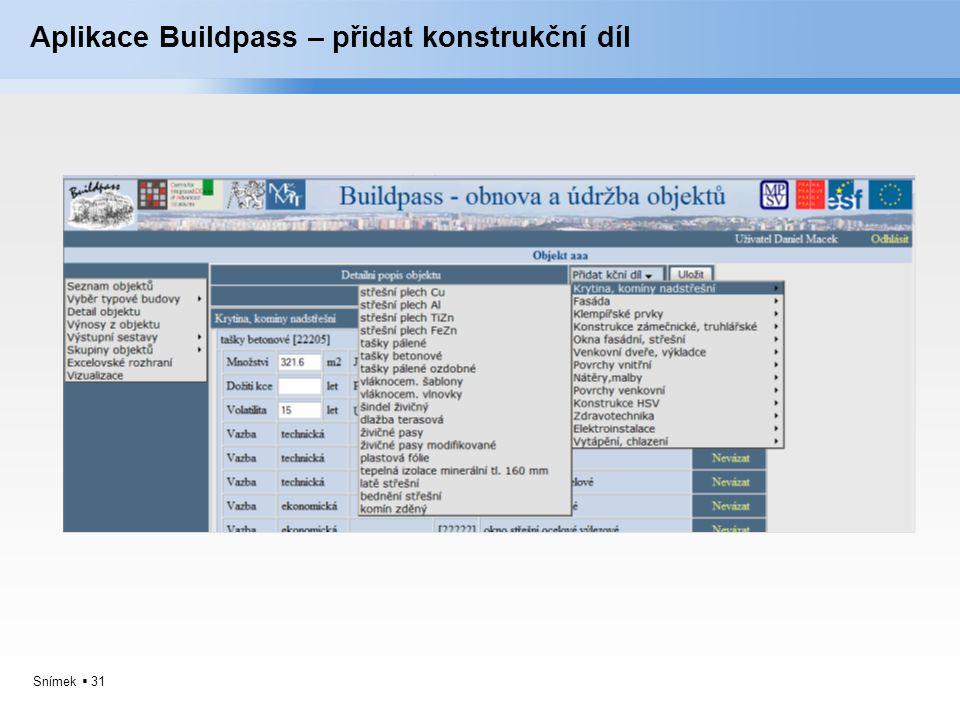 Aplikace Buildpass – přidat konstrukční díl