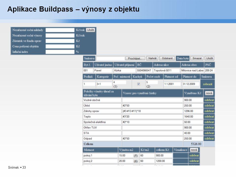 Aplikace Buildpass – výnosy z objektu