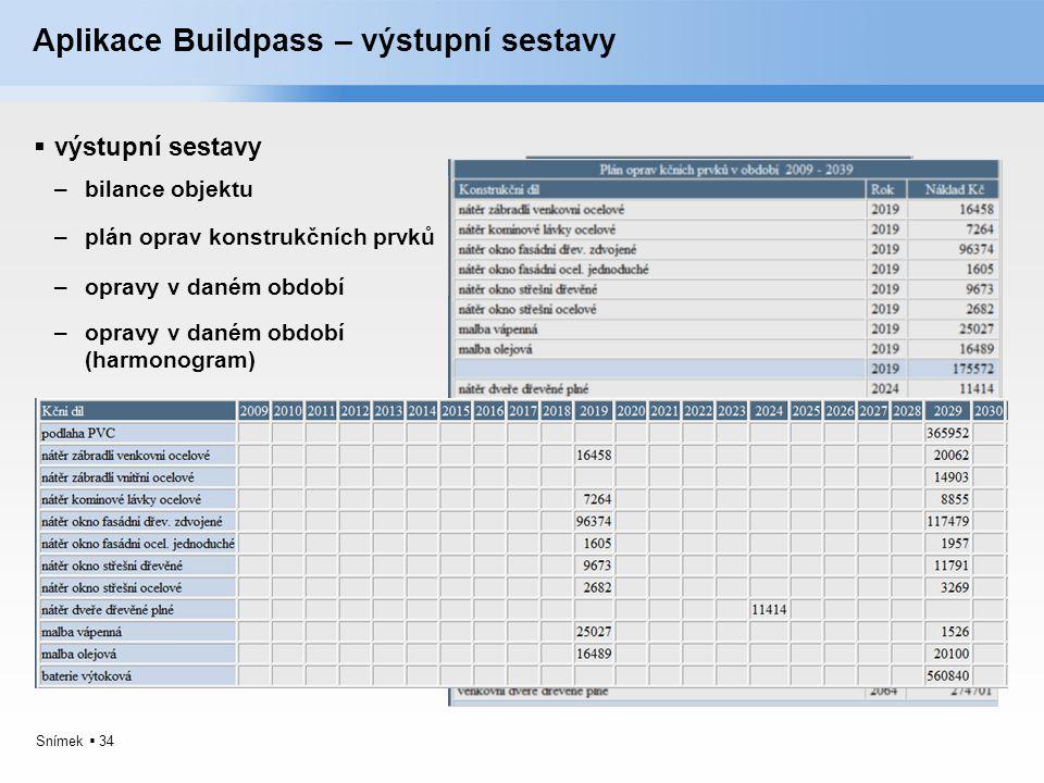Aplikace Buildpass – výstupní sestavy