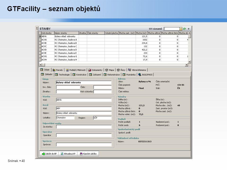 GTFacility – seznam objektů