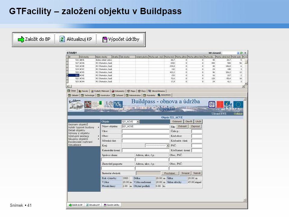 GTFacility – založení objektu v Buildpass