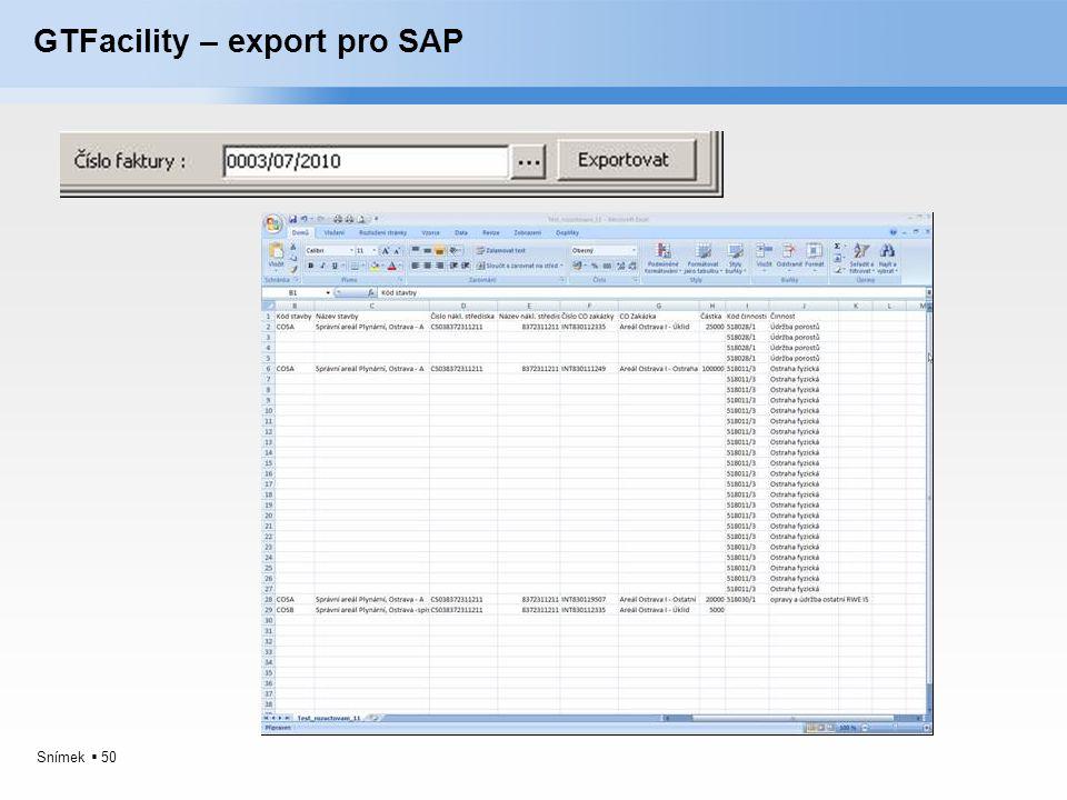 GTFacility – export pro SAP