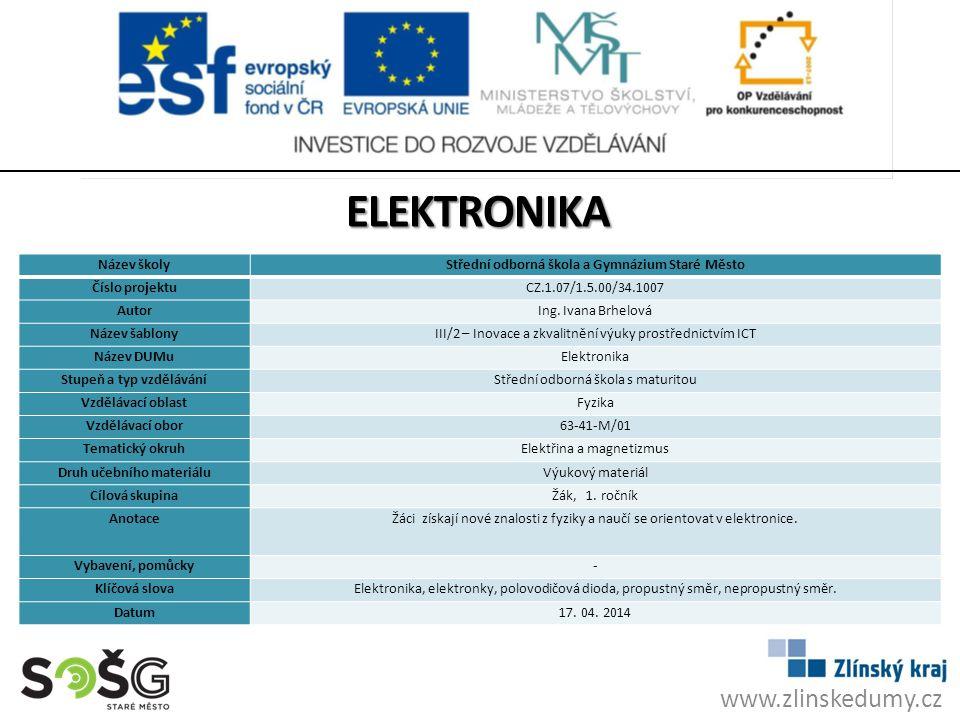 ELEKTRONIKA www.zlinskedumy.cz Název školy