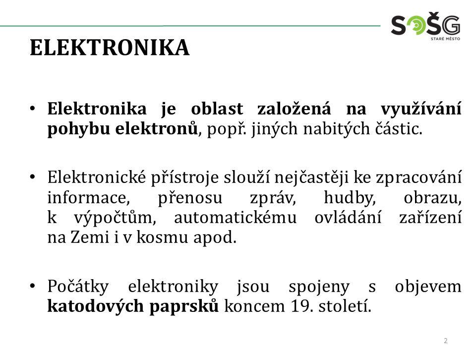 ELEKTRONIKA Elektronika je oblast založená na využívání pohybu elektronů, popř. jiných nabitých částic.