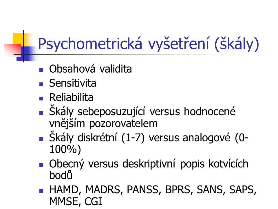Psychometrická vyšetření (škály)