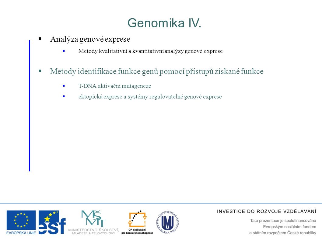 Genomika IV. Analýza genové exprese