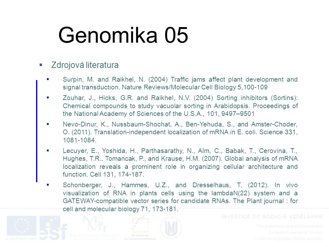 Genomika 05 Zdrojová literatura