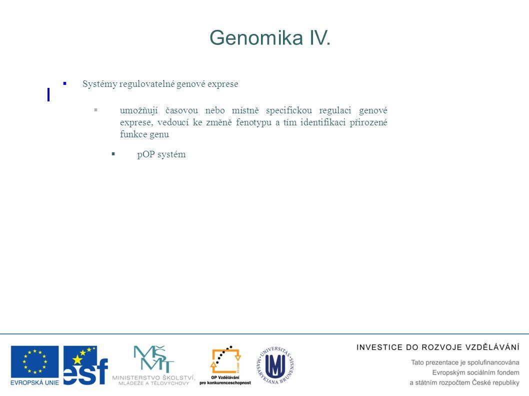 Genomika IV. Systémy regulovatelné genové exprese
