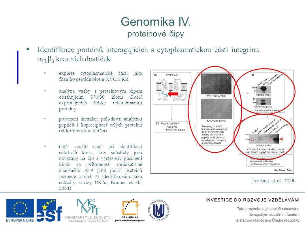 Genomika IV. proteinové čipy