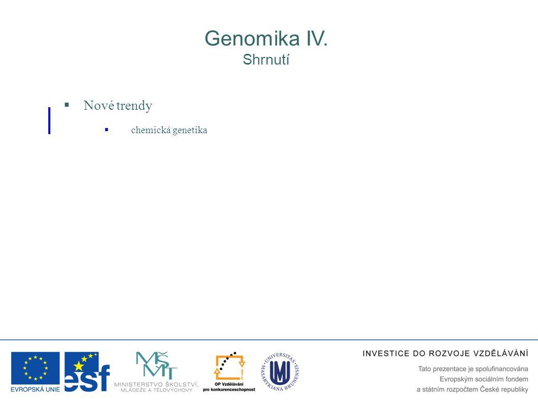 Genomika IV. Shrnutí Nové trendy chemická genetika