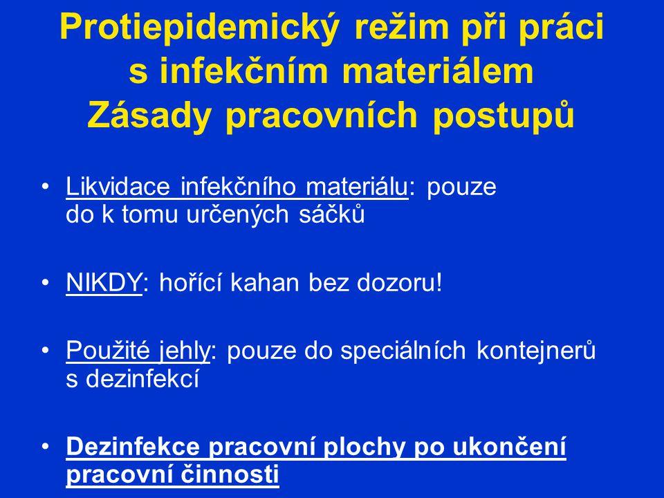 Protiepidemický režim při práci s infekčním materiálem Zásady pracovních postupů