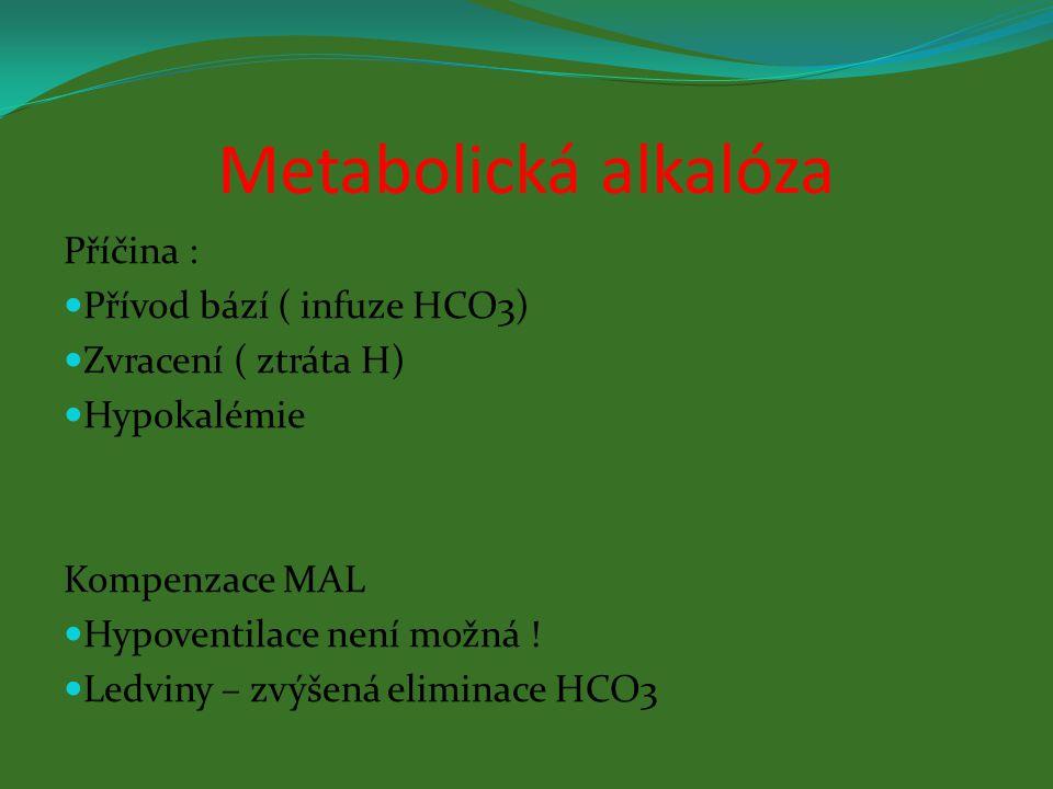 Metabolická alkalóza Příčina : Přívod bází ( infuze HCO3)
