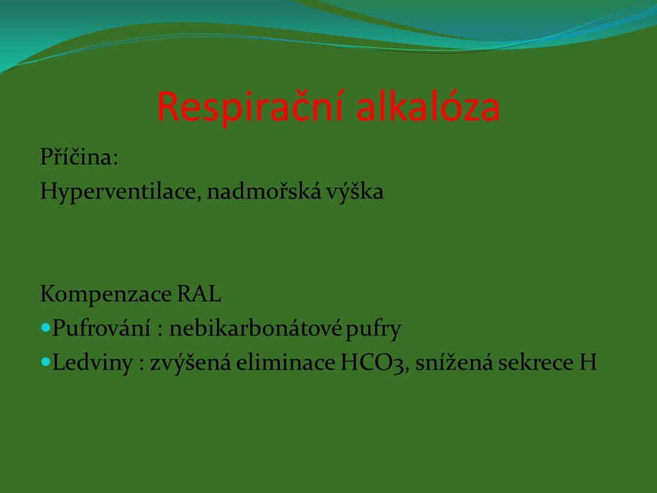 Respirační alkalóza Příčina: Hyperventilace, nadmořská výška
