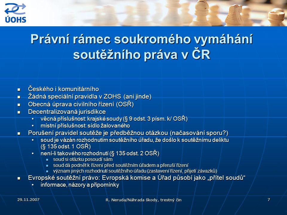 Právní rámec soukromého vymáhání soutěžního práva v ČR