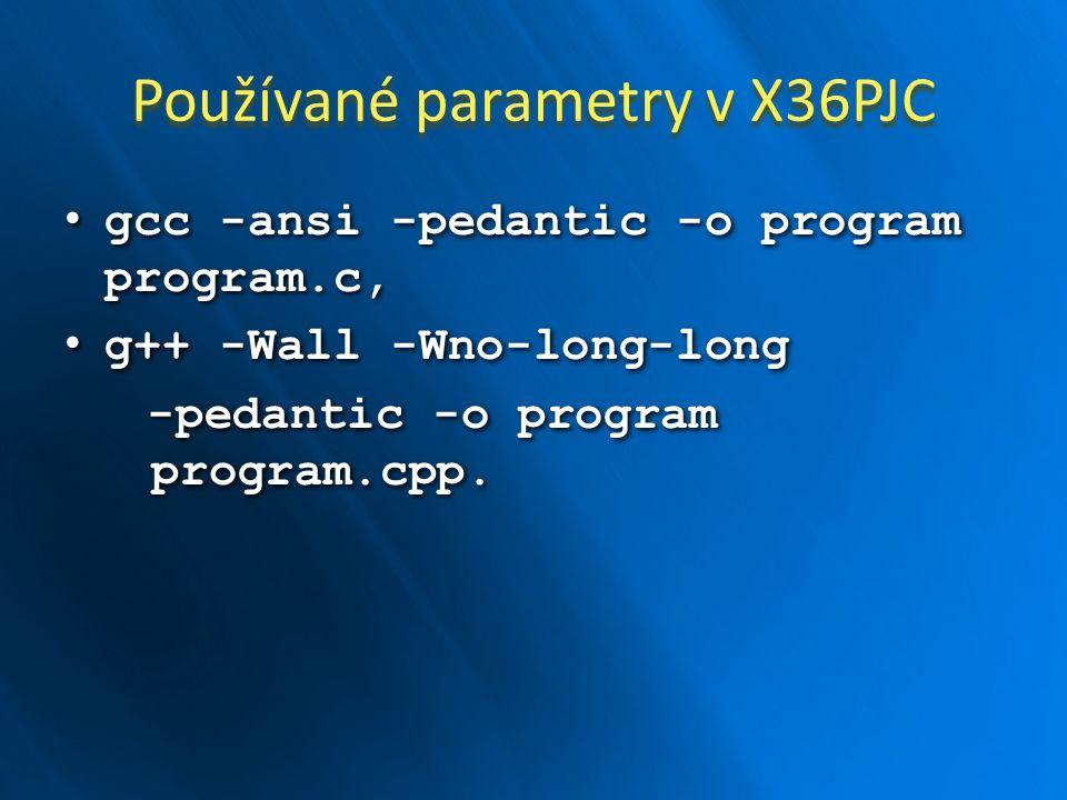 Používané parametry v X36PJC