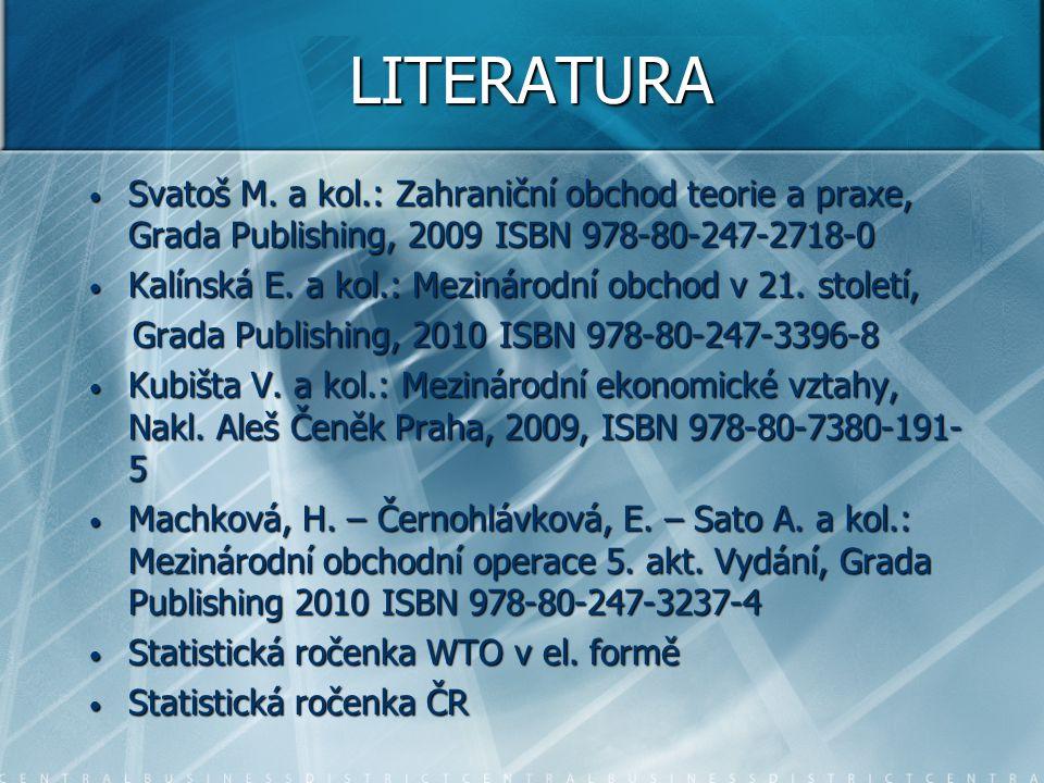 LITERATURA Svatoš M. a kol.: Zahraniční obchod teorie a praxe, Grada Publishing, 2009 ISBN 978-80-247-2718-0.