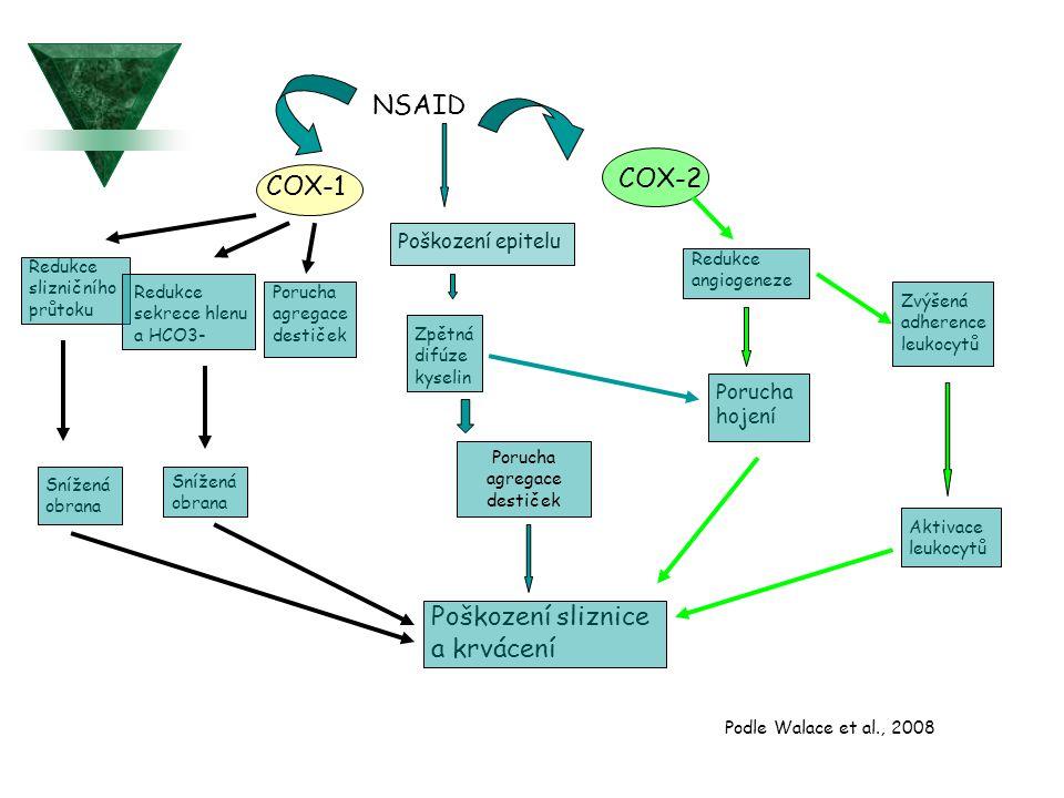 NSAID COX-2 COX-1 Poškození sliznice a krvácení Poškození epitelu