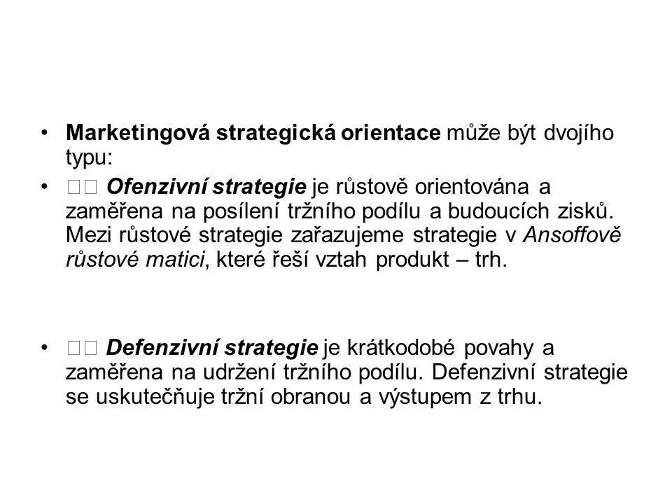 Marketingová strategická orientace může být dvojího typu: