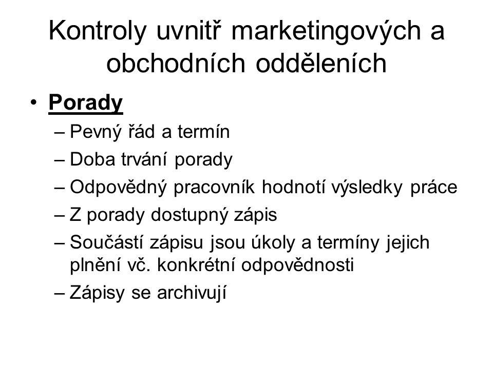 Kontroly uvnitř marketingových a obchodních odděleních
