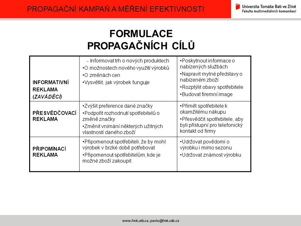 FORMULACE PROPAGAČNÍCH CÍLŮ www.fmk.utb.cz, pavlu@fmk.utb.cz
