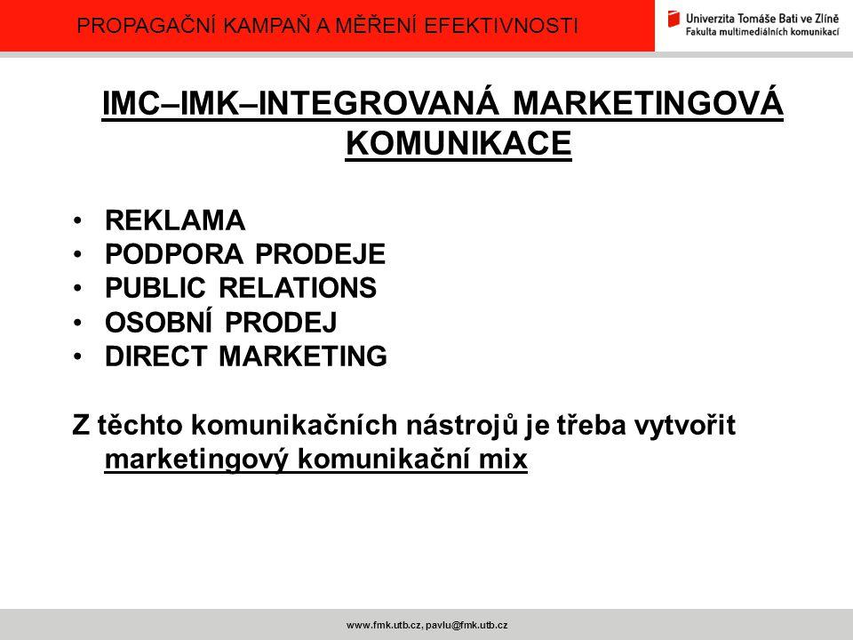 IMC–IMK–INTEGROVANÁ MARKETINGOVÁ KOMUNIKACE