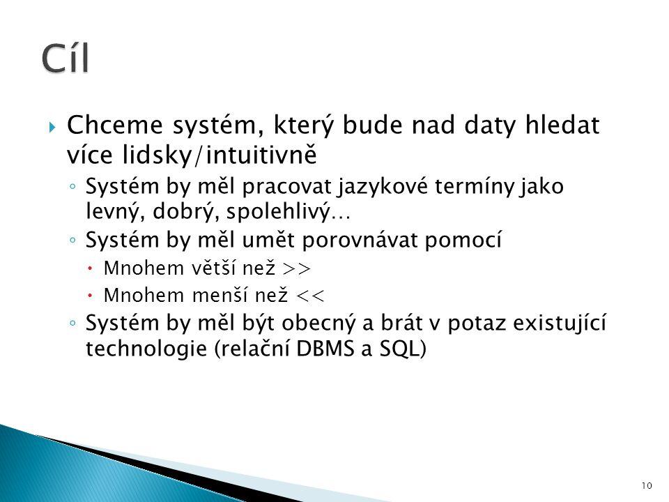 Cíl Chceme systém, který bude nad daty hledat více lidsky/intuitivně