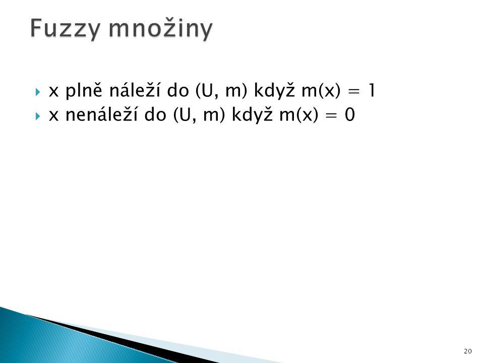 Fuzzy množiny x plně náleží do (U, m) když m(x) = 1