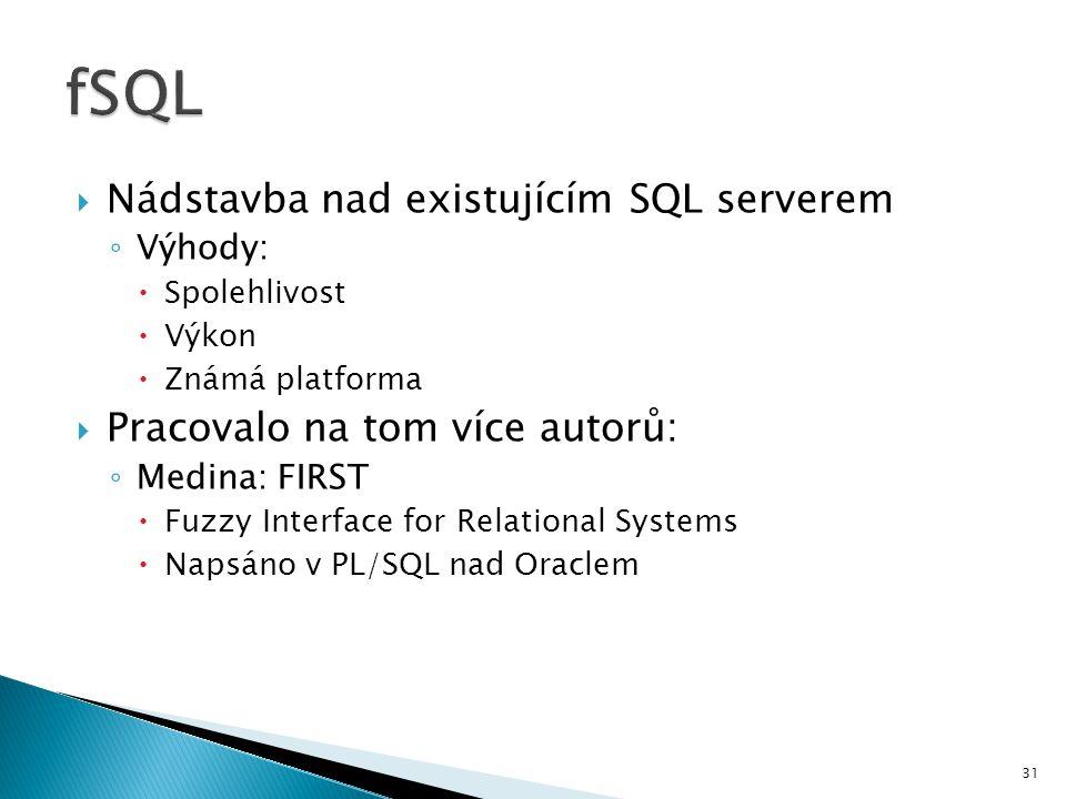 fSQL Nádstavba nad existujícím SQL serverem