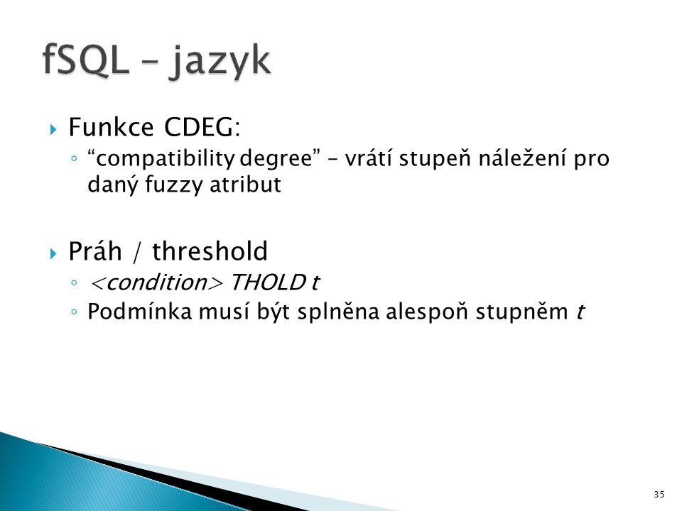 fSQL – jazyk Funkce CDEG: Práh / threshold