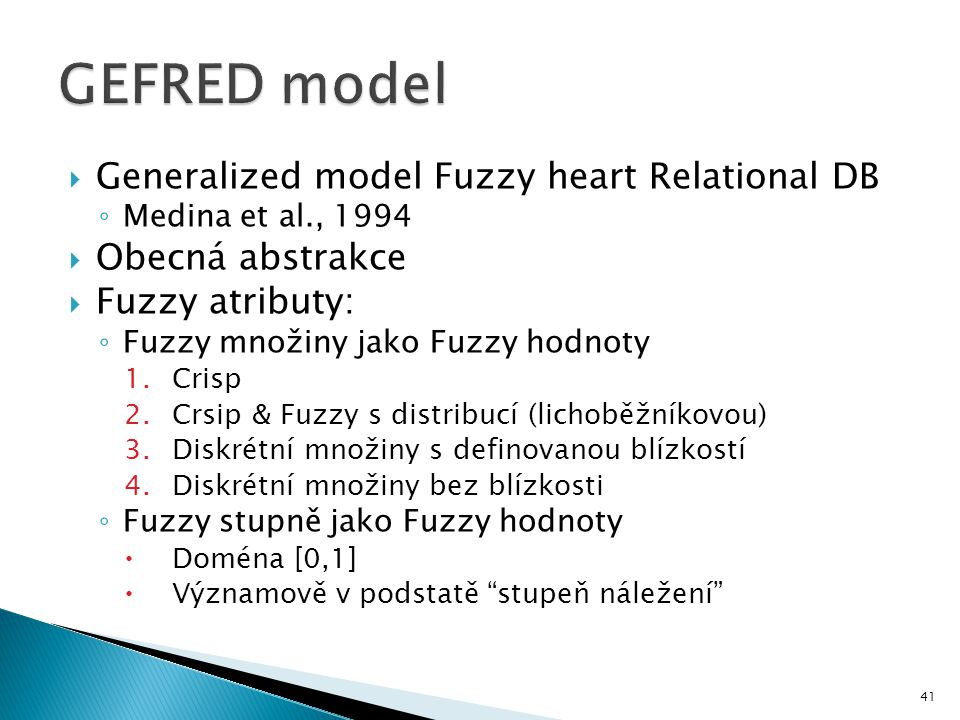 GEFRED model Generalized model Fuzzy heart Relational DB