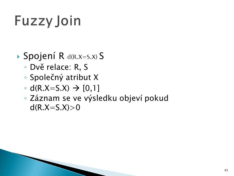 Fuzzy Join Spojení R d(R.X=S.X) S Dvě relace: R, S Společný atribut X