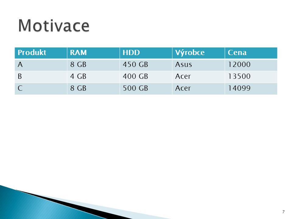 Motivace Produkt RAM HDD Výrobce Cena A 8 GB 450 GB Asus 12000 B 4 GB