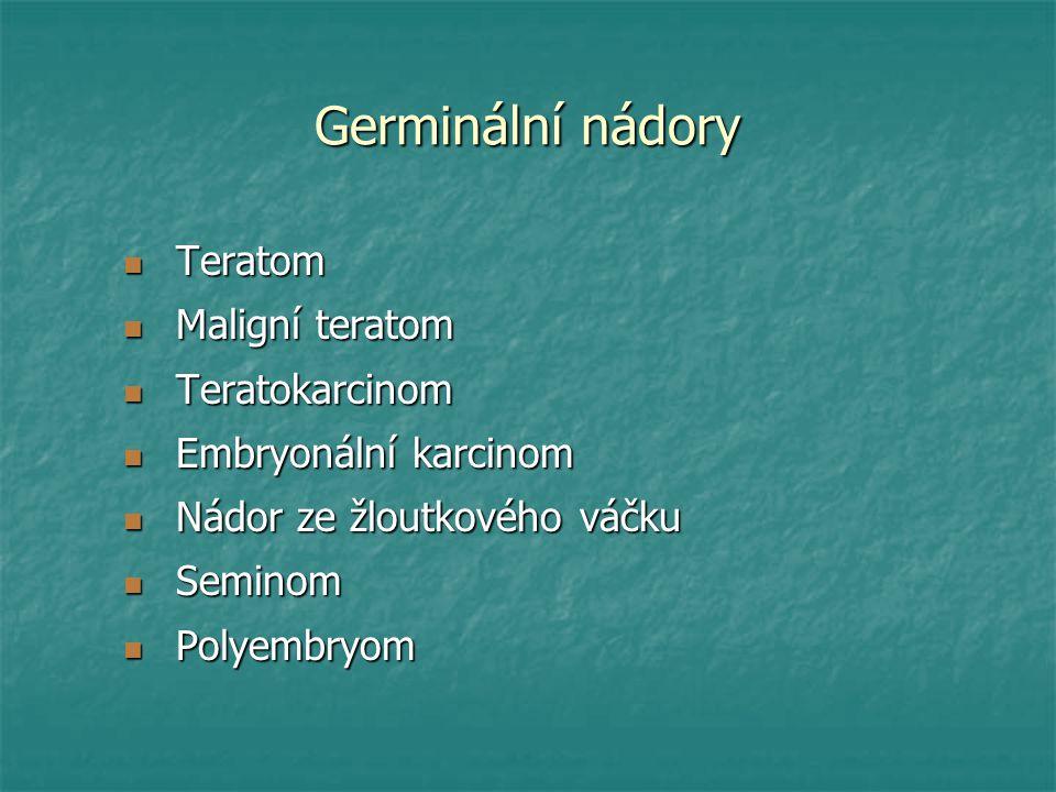 Germinální nádory Teratom Maligní teratom Teratokarcinom