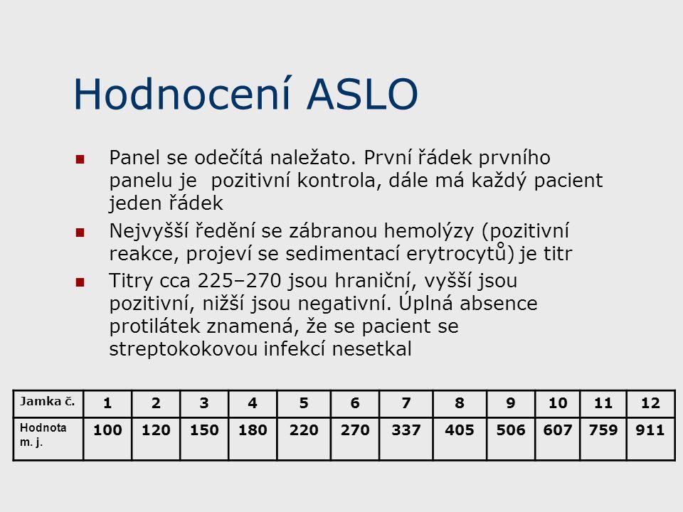 Hodnocení ASLO Panel se odečítá naležato. První řádek prvního panelu je pozitivní kontrola, dále má každý pacient jeden řádek.