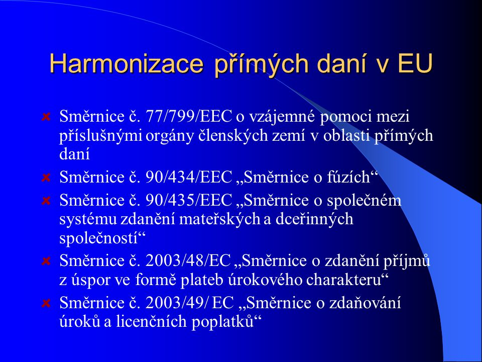 Harmonizace přímých daní v EU