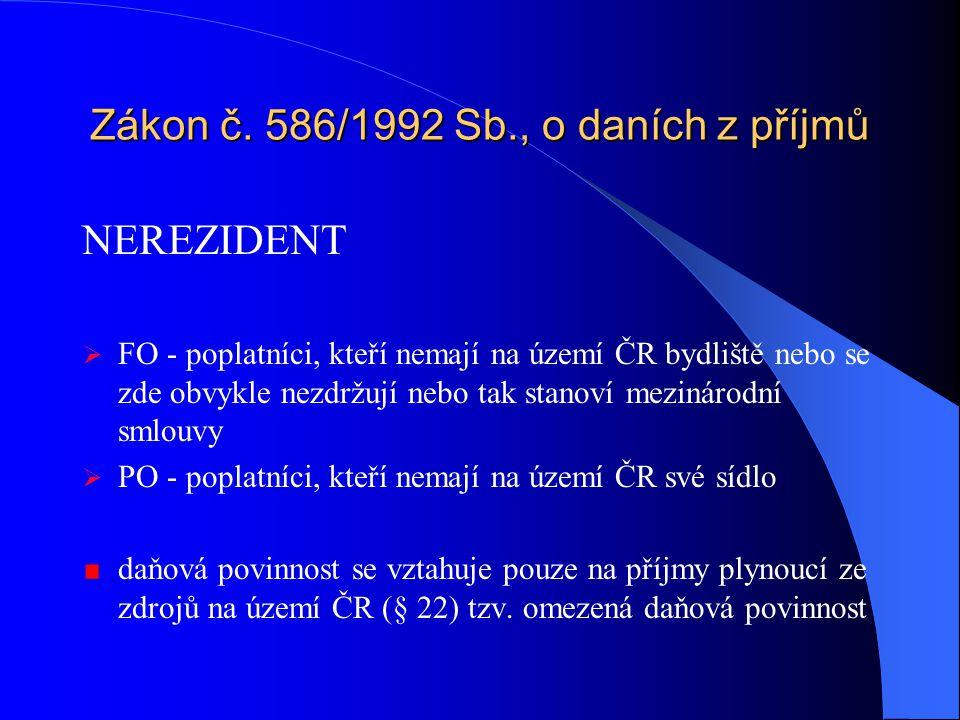 Zákon č. 586/1992 Sb., o daních z příjmů