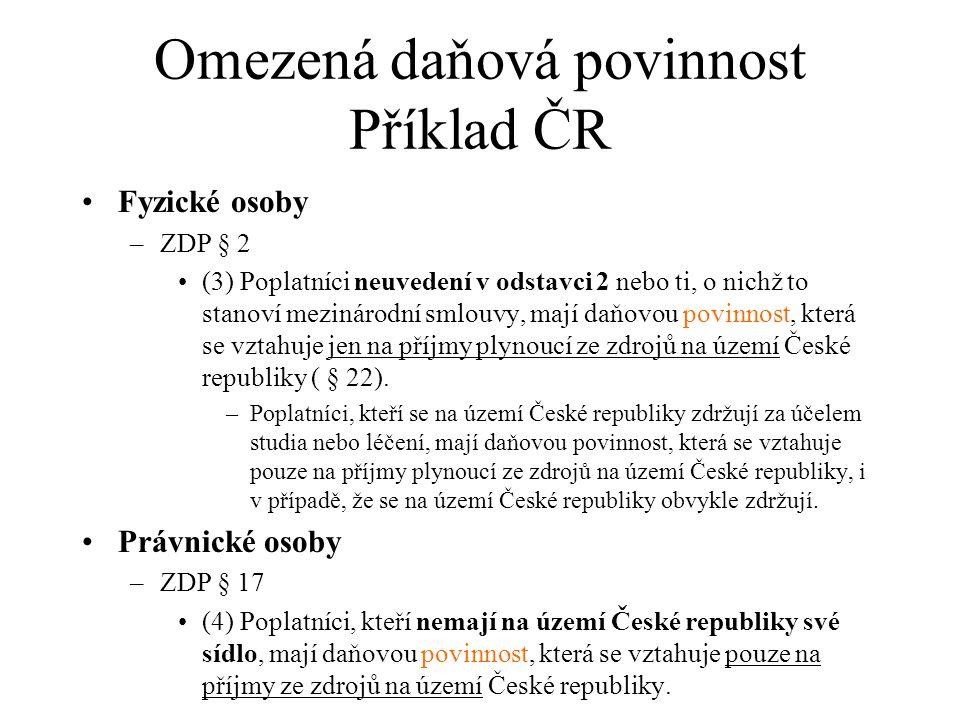 Omezená daňová povinnost Příklad ČR