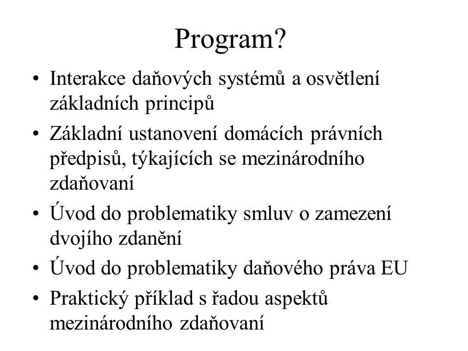 Program Interakce daňových systémů a osvětlení základních principů